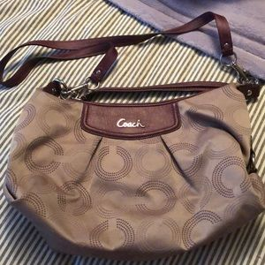Coach tan and purple purse
